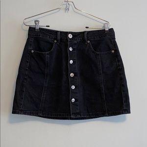 American Eagle Washed Black Denim Mini Skirt